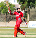 Khurram Nawaz salutes the home crowd after reaching his maiden T20I fifty, Oman v Netherlands, Oman Quadrangular T20I Series, Al Amerat, February 15, 2019