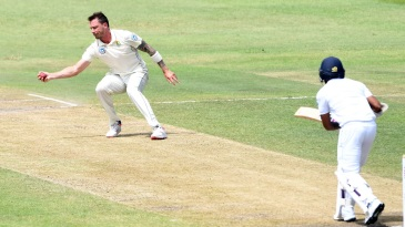 Niroshan Dickwella is caught and bowled by Dale Steyn