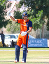 Ben Cooper raises his bat to acknowledge his half-century, Oman v Netherlands, Oman Quadrangular T20I Series, Al Amerat, February 15, 2019