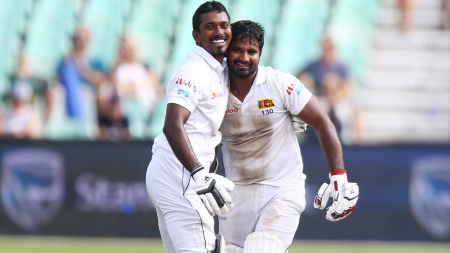 Kusal Perera and Vishwa Fernando celebrate a sensational Sri Lanka win