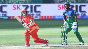 Luke Ronchi takes the aerial route on the leg side
