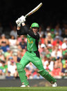 Ben Dunk slashes through the off side, Melbourne Renegades v Melbourne Stars, Final, BBL 2018-19, Melbourne, 17 February, 2019