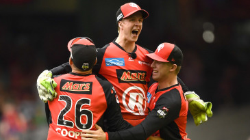 Sam Harper celebrates Melbourne Renegades' title win with his team-mates