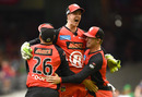Sam Harper celebrates Melbourne Renegades' tittle win with his team-mates, Melbourne Renegades v Melbourne Stars, Final, BBL 2018-19, Melbourne, 17 February, 2019