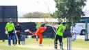 Stuart Poynter hits Paul van Meekeren over the leg side for a last-ball six to win it, Ireland v Netherlands, Oman Quadrangular T20I Series, Al Amerat, February 17, 2019