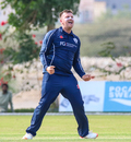 Mark Watt celebrates after another successful lbw appeal, Oman v Scotland, Oman Quadrangular T20I Series, Al Amerat, February 17, 2019