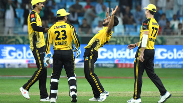 Hasan Ali is pumped up after a wicket