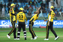 Hasan Ali is pumped up after a wicket, Lahore Qalandars v Peshawar Zalmi, PSL 2019, Dubai, February 17, 2019