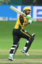 Umar Amin watches one fly off his bat, Lahore Qalandars v Peshawar Zalmi, PSL 2019, Dubai, February 17, 2019