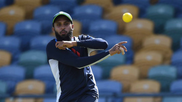 Adil Rashid during an England nets session in Barbados