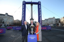 David Richardson, Steve Elworthy and UK sports minister Mims Davies at an event marking the 100-day countdown to the World Cup, London, February 19, 2019