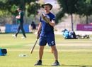 Toby Bailey leads Scotland's squad through a fielding drill before the start of play, Ireland v Scotland, Oman Quadrangular T20I Series, Al Amerat, February 15, 2019