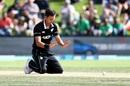 Trent Boult tumbles over in his follow through, New Zealand v Bangladesh, 3rd ODI, Dunedin, February 20, 2019