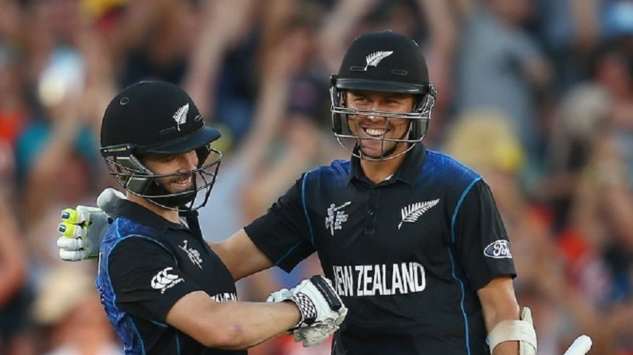 Well done us: Boult (right) played out two dots before Williamson finished things off with a six in the one-wicket win over England