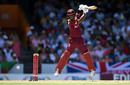 Shai Hope jumps to punch through the off side, West Indies v England, 1st ODI, Barbados, February 20, 2019