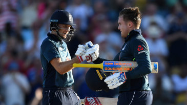 Joe Root congratulates Jason Roy on his century