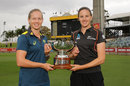 Meg Lanning and Amy Satterthwaite with the Rose Bowl, Perth, Feburary 21, 2019