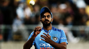 Vijay Shankar tosses the ball up