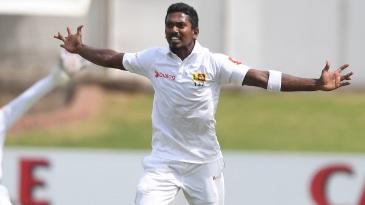Vishwa Fernando appeals during his hostile opening spell