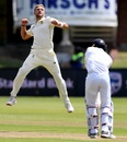 Wiaan Mulder celebrates the dismissal of Dhananjaya de Silva, South Africa v Sri Lanka, 2nd Test, Port Elizabeth, 2nd day, February 22, 2019