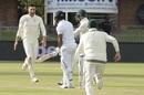 Duanne Olivier celebrates Dimuth Karunaratne's dismissal, South Africa v Sri Lanka, 2nd Test, Port Elizabeth, 2nd day, February 22, 2019