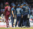 Adil Rashid and his team-mates celebrates the dismissal of Chris Gayle, West Indies v England, 2nd ODI, Barbados, February 22, 2019