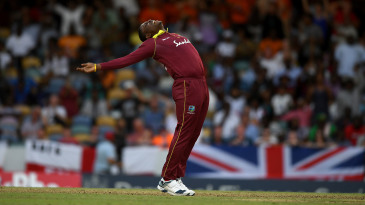 Sheldon Cottrell explodes in joy after taking another wicket