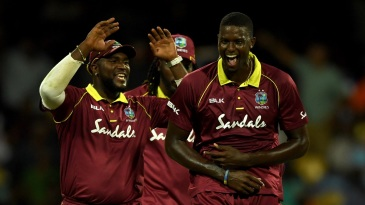 Jason Holder is chuffed after picking up a wicket