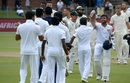 The Sri Lankans celebrate their eight-wicket win in Port Elizabeth, South Africa v Sri Lanka, 2nd Test, Port Elizabeth, 3rd day, February 23, 2019