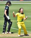Georgia Wareham celebrates a success, Australia Women v New Zealand Women, 2nd ODI, Adelaide, February 24, 2019