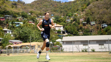 Chris Woakes runs in to bowl during a nets session at the National Cricket Stadium in Grenada