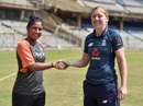 Mithali Raj and Heather Knight pose for the cameras, India v England, 1st women's ODI, Mumbai, February 21, 2019
