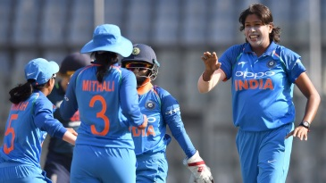 Jhulan Goswami took two wickets in her opening spell