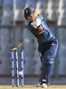 Sarah Taylor plays a drive back onto her stumps, India v England, 2nd ODI, Mumbai, February 25, 2019