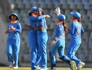 Fast bowler Shikha Pandey celebrates a wicket with her team-mates, India v England, 2nd ODI, Mumbai, February 25, 2019