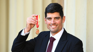 Sir Alastair Cook received his knighthood at Buckingham Palace