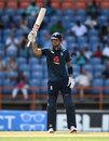 Alex Hales celebrates his half-century, West Indies v England, 4th ODI, Grenada, February 27, 2019