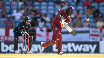 Chris Gayle launches one down the ground