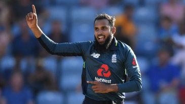 Adil Rashid claims the key wicket of Jason Holder