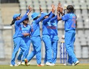 Jhulan Goswami celebrates a wicket with team-members, India Women v England Women, 3rd ODI, Mumbai, February 28, 2019