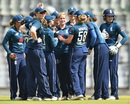 Katherine Brunt celebrates with her team-mates after a wicket, India Women v England Women, 3rd ODI, Mumbai, February 28, 2019