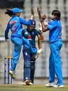 Jhulan Goswami and Jemimah Rodrigues celebrate a wicket, India v England, 3rd women's ODI, Mumbai, February 28, 2019