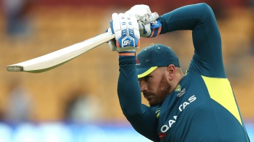 Aaron Finch cracks one during a training session