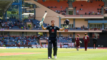 Jos Buttler leaves the field after his 150 from 77 balls