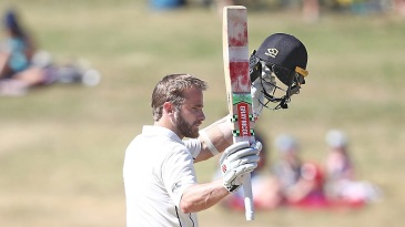 Kane Williamson celebrates his 20th Test hundred