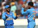 Kuldeep Yadav and Kedar Jadhav celebrate, India v Australia, 1st ODI, Hyderabad, March 1, 2019