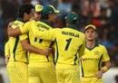 Australia celebrate the fall of Shikhar Dhawan's wicket, India v Australia, 1st ODI, Hyderabad, March 2, 2019