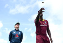 Jason Holder tosses the coin alongside Eoin Morgan, West Indies v England, 5th ODI, St Lucia, March 2, 2019