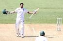 Soumya Sarkar celebrates scoring his maiden Test century, New Zealand v Bangladesh, 1st Test, Hamilton, 4th day, March 3, 2019