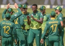 Lungi Ngidi celebrates with his team-mates, South Africa v Sri Lanka, 1st ODI, Johannesburg, March 3, 2019